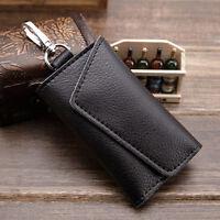 Unisex Leather Key Bag Keychain Credit Card Holder Keyholder Case Purse