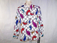 Sag Harbor Shirt Top 12P Button Front Long Sleeves Paisely Print Womens New