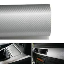 """Silver White Glossy Finish Carbon Fiber Vinyl Wrapping Sheet Film 24"""" x 48"""" Size"""