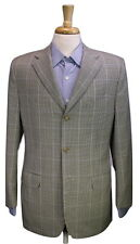 * CORNELIANI * Recent Gray/Cream/Blue Check Windowpane 3B Wool Blazer Jacket 40R