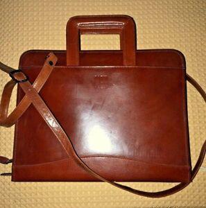 Scully Brown Leather Brief Messenger Attache Tech Bag w/ Straps unused