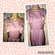 ANN TAYLOR LOFT MAUVE DRESS WITH RUFFLED BODICE, SLEEVELESS, SIZE 12 PETITE