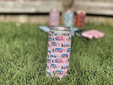 Neoprene Slim Can Koozie - White Claw, Beer - Pink Camper Print