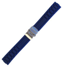 20mm Panatime Blue Waterproof Silicone Oyster Watch Band w/ Deploy Clasp