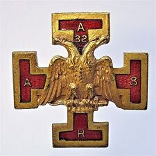 1920's Masonic 32nd Degree LOGO enamel inlay medal badge brooch pinback +