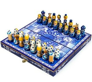 29x29 cm Handmade Wooden CHESS SET Russian GZHEL Style Hand-painted Matryoshkas