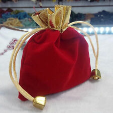 10PCs     12x10cm Dark Red Jewelry Bag Velvet Pouch Gift Bags With Drawstring