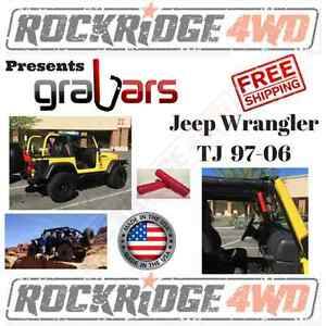 Grabars for Jeep Wrangler TJ LJ 97-06 Front PAIR w/ Red Grips Steel Hard Mount