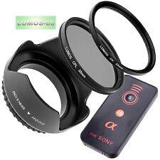Set 55mm Gegenlichtblende UV Polfilter Fernauslöser passt zu Sony 18-55 Alpha 77