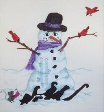 Snowman with Cardinals on arm branches holiday cross stitch pattern Missed Again