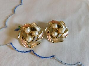 Vintage Judy Lee Pearl Light Pink Enamel Gold Button Clip on Earrings Signed