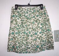 Ann Taylor Loft Skirt Womens size 4 P Petite Juniors Lined Blue Print --ZZ-