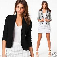 Fashion Women Long Sleeve Button Casual Blazer Suit Jacket Coat Outwear Tops