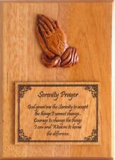 Wooden praying hands Serenity Prayer wall plaque gift