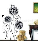 Black Dandelion Flower Tree Butterfly Wall Decals Art Removable Stickers Decor