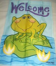 Small Garden Flag Welcome Frog on a Lilly Pad