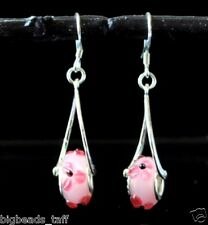 handmade pink flower charm 925 sterling silver wires earring