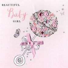 Beautiful Baby Girl Buttoned Up Greeting Card Embellished Cards