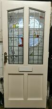 Vintage Hard Wood Stained Glass Panelled External Window Painted White Two Keys