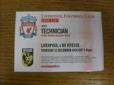 12/12/2002 Ticket: Liverpool v Vitesse [UEFA Cup - Technician Access Pass] (mint