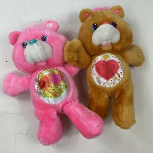 Lot of 2 Care Bears 1991 Tenderheart & Love A Lot Vintage Kenner Toy Plush
