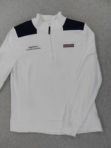 Vineyard Vines Edgartown 1/2 Zip Shep Shirt (Womens Large) White/Blue