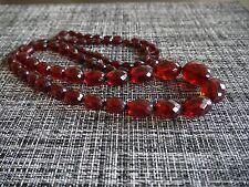 Antique Art Deco Faceted Cherry Amber Bakelite  Bead  Necklace 101 gram