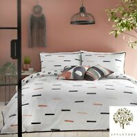 Appletree TENLEY Duvet Cover Bedding Set White Black Coral Reversible Cotton