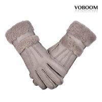 Women's Genuine Leather Fleece Lined Gloves Winter Gloves Warm Windproof Driving