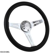 "1948-1959 Chevy & GMC w/ididit Column 15"" Black  Leather Steering Wheel, Horn"