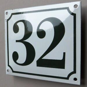HAUSNUMMER 32 => Altes Emailschild um 1965 PERFEKT Tür- Eingang Haustür GRAUGRÜN