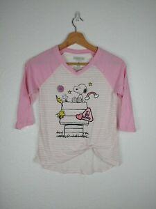 PEANUTS Snoopy Pink Striped Baseball Shirt Girls Size M