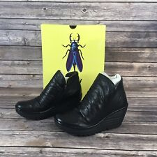 Fly London Womens Leather Wedge Ruched Ankle Boots Shoes Size 36 Black New