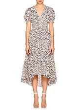 b8dab094832 NWT ULLA JOHNSON Evania Floral Striped Cotton Silk Midi Dress Pink Black  White