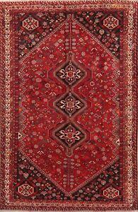 BLACK FRIDAY DEAL Vintage Abadeh Geometric Oriental Wool Handmade Area Rug 7x10
