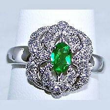 14k White Gold TSAVORITE GREEN GARNET & DIAMOND RING Size 9