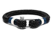 Frank 1967 Binding Ropes Maritim Shackle Men's Textile Bracelet Black B0143