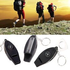 4 in1 Outdoor Survival Whistle Compass Magnifier Thermometer Keychain Travel EDC