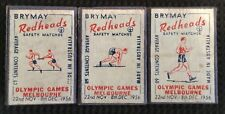 3 x 1956 OLYMPIC GAMES BRYANT & MAY REDHEADS SAFETY MATCHES MATCH BOX LABELS