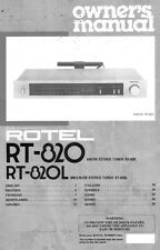 Rotel RT-820 Tuner Owners Manual