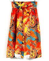 """Vintage Mod Skirt Midi Orange Turquoise 1960s Print Fringed Belt 28"""" waist"""