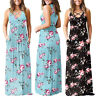 Boho Summer Women Casual Sleeveless Floral Print With Pockets Maxi Long Dress