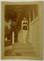 COLOR SHIFT, Sexy Midriff Brunette Woman On Porch, Vintage Photo Snapshot