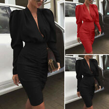 Women Long Sleeve V Neck Work Office Formal Dresses Sexy Bodycon Dress Plus Size
