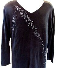 Avenue Women's Plus 2X Top Black Beaded Sequins V-Neck L Sleeve Pullover Sweater