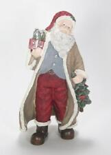 "10"" Tall Santa Claus Figurine w/Tan Coat & Red Hat Holding A Tree & Packages"