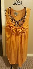 DELETTA Anthropologie Mustard Yellow Rosette Trim Sunny Ruched Top Blouse Sz S