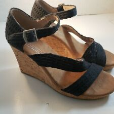 Black Toms Cork High Heels Womens Size 6W Worn Once!