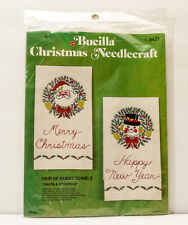 Bucilla Santa Snowman Christmas Pair of Guest Towels 3421 Needle Craft New