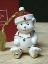 Lenox Very Merry Porcelain Teddy Bear With Lights Christmas Ornament New In Box